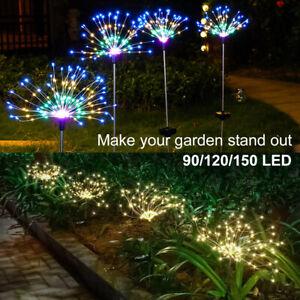 Solar 150/120/90 LED Firework Garden Starburst Stake Fairy Lights Warm Colorful