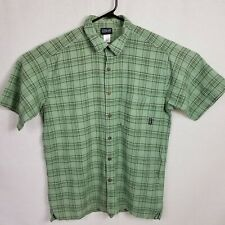 Patagonia Mens Size Large Button Front Shirt Organic Cotton Green
