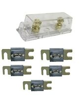 1 pc ANL Fuse Holder Gold 1/0 2 4 GA AWG Gauge Inline with 5 pcs 300A Fuses