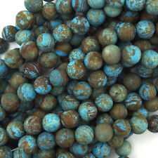 """Matte Brown Blue Turquoise Round Beads 15.5"""" Strand Frost 4mm 6mm 8mm 10mm 12mm"""