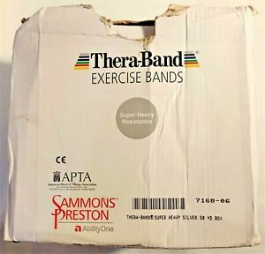 """Silver TheraBand Latex Pro Resistance Bands 50 yd X 5"""" Box Silver Free Shipping!"""
