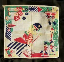 Vintage  1950's Era Child's / Nursery Handkerchief With Toy Soldiers