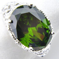 Woman Huge 28.50 Cts Natural Olive Peridot Gemstone Solid Silver Ring Size 7 8 9