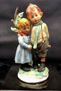 Antonio Benni Capodimonte Boy Girl next to Tree Hand Painted Figurine & Signed