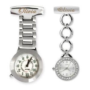 Personalised Engraved Nurse Watch Diamante Fob Carer Graduation Custom Gift Name