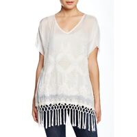 4 Love & Liberty Johnny Was White Julia Sheer Silk Embroidered Fringe Top Small