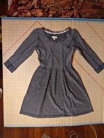 NEW Maison Jules Gray Striped Cotton Dress Women XS NWT Closet134*