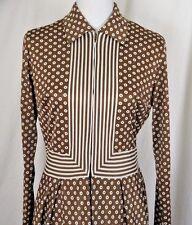 Vintage 70s Maxi Dress M Bullseye Striped Print Zip Front Polyester Peck & Peck