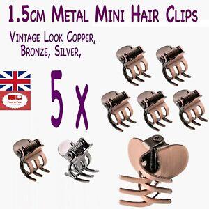 Mini Hair Clips, 5 x Retro Metal Hair Clips Claw,1.5cm Hair Styling Clips U.K.