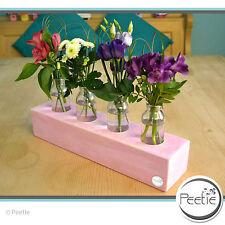 PEETIE Vintage 4er Blumenvase rosa Shabby Massivholz Glasvase Holz Vasenleiste
