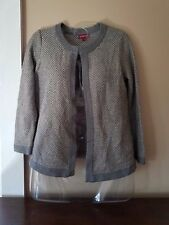 MERONA Women's XS Gray Beige Acrylic 3/4 Sleeve Sparkle 1 Hook Cardigan Sweater