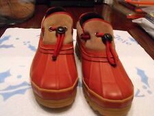 Bass Womens Sz 7M Benzy Red & Tan Leather Rain Shoes
