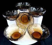 "SENECA CRINKLE GLASS 6 PIECE DRIFTWOOD DARK BROWN 5 1/8"" SMALL FRUIT BOWLS"