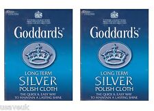2 X Goddards Plata Pulido a largo plazo polaco Paño De Limpieza