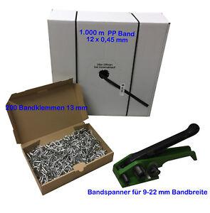 Umreifungsset,Bandspanner 9-22+PP Band 12x0,45mm 1x1000m+Metallklemmen verzinkt