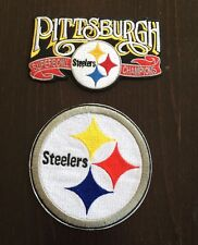 "(2) Pittsburgh Steelers Vintage Embroidered Iron On Patches 4"" x 2.5 & 3 1/4"