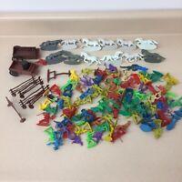 Vtg Cowboys & Indians Plastic Horses Fences Toys Lot of 100+ Multi Color AR46