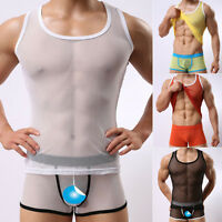 Good Sale Men's Mesh Tights Transparent Sheer T-Shirt Sexy Vest Tank Top Muscle