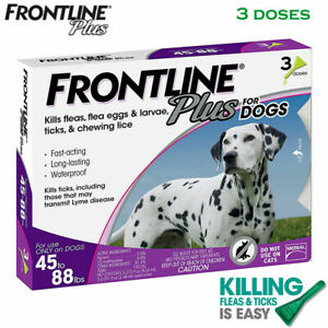 FRONTLINE Plus Flea and Tick Treatment for Large Dogs(45-88 Pounds)-3 Doses.