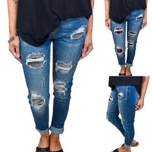 Women Skinny Ripped Patch Jeans Denim Pants Slim Jegging Stretch Trouser Bottoms
