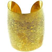Messing Tribal Armreif golden schraffiert breit gewölbt 77 mm nickelfrei verstel