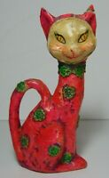 RARE Vintage 1950s FOLK ART PINK PAPER MACHE CAT CREEPY PSYCHEDELIC HAND PAINTED