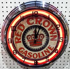 """17"""" RED CROWN Gasoline Sign Neon Clock Gas Station Lube"""