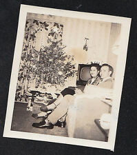 Antique Photograph Man & Woman Sitting By Christmas Tree & Retro Television Set