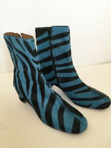 NWOT by Far Sofia Boot in Blue Zebra Print Pony Sz 7 Orig 505