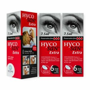 3 × Bottles Hycosan Extra Lubricating eye drops Preservative Free 7.5ml