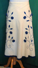 Vintage Ecru Cotton Embroidered Wrap Skirt Philippines Mystical Fashions W30