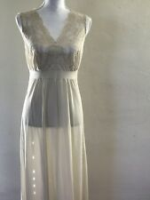 WOMENS MAXI NIGHT WEAR DRESS VINTAGE IVORY LACE INTIMATES SIZE 8