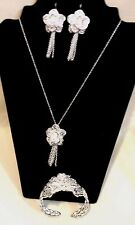 Charming 925 Sterling Silver Rose Flower Necklace,Earrings &  Bangle Bracelet