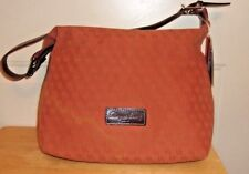 New Dooney & Bourke Small Surrey Hobo Bag Jaquard Signature fabric Orange $175