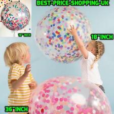 WHOLESALE Giant Round Clear Transparent Big Balloon Birthday Easter Confetti UK