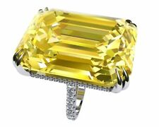 Large Jewelry Inspired 925 Silver Citrine Women Wedding Engagement Ring Sz 6-10