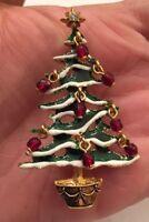 RARE Vintage Avon Signed Christmas Tree W/ Dangle Beads Enamel Holiday Brooch