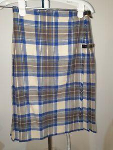 Vintage Plaid Pure Wool Pleated Kilt Skirt Size 10 ?