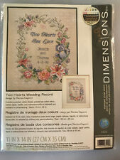 Dimensions TWO HEARTS WEDDING RECORD Cross Stitch Kit - New in Bag