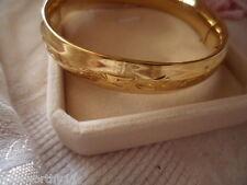 VINTAGE STAMPED 14KT GOLD HINGED with VICTORIAN ETCHED BANGLE SIGNED 14 KT CA