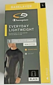 Champion C9 Base Layer Men's Large Lightweight Semi Fitted Long Sleeve Black