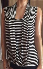 Attention SZ S/C~Sleeveless Black/White Stripe Draped Front/Faux Cami Rayon Top