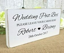 Wedding Post Box Sign Personalised Free Standing Rustic Table Sign Decoration