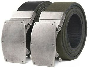 Bonded Leather & Canvas Mens Reversible Ratchet Belt With Adjustable Buckle