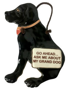 Black Lab Grand Dog Grandog Ceramic Wall Plaque 1994 Smokey Mountain Pottery