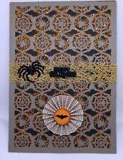 Grey Spider Web with Orange Glitter Halloween Card set of 2 HANDMADE