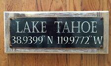 Lake Tahoe Longitude Latitude Geography Map Poster Vintage Metal Sign Home Decor