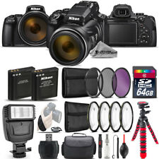 Nikon COOLPIX P1000 Digital Camera 125x + Flash + 7PC Filter +EXT BAT - 64GB Kit