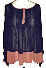 NEXT sheer chiffon pintucked blouse shirt top UK 14