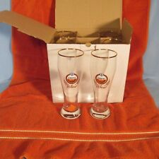 AMSTEL BIER  WHEAT BOX OF 6 PUB STYLE BEER GLASSES W/ GOLD RIMS Holidays